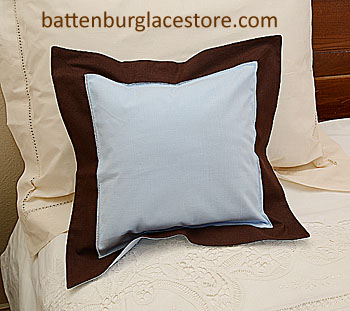 "Pillow Sham.BABY BLUE with BROWN border.12"" Square."
